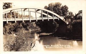 Burlington Kansas~Neosho River Bridge~Real Photo Postcard RPPC 1945