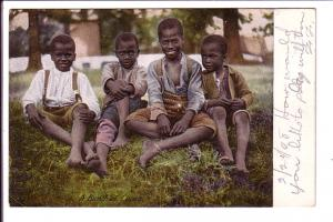 Four Young Boys, A Bush of Coons, Black Americana, Used 1908 Message