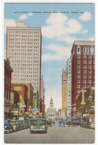 Main Street North Cars Fort Worth Texas linen postcard