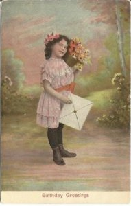 Little Girl with Bouquet of Daisies and Large Card Vintage Postcard Birthday