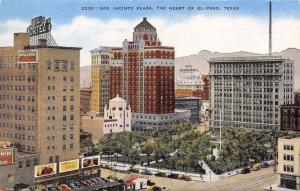 El Paso TX~San Jacinto Plaza~Liberty Hall, Rodeo Billboards~Hotel Cortez 1940s
