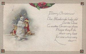 CHRISTMAS, PU-1923; Santa Claus hiding behind snowman at night, Poinsettia