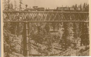 Long Ravine Bridge with train, on the C.P.R.R., repro card of old photo Postcard