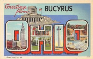 Bucyrus Ohio Large Letter Linen~River Dam-Monument-Building~1939 Postcard