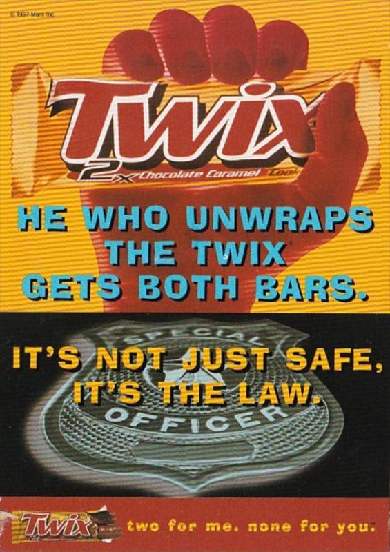 Advertising Twix Chocolate Caramel Bar 1997