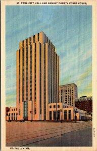 St. Paul , MINNESOTA - Court House and City Hall Vintage LINEN POSTCARD