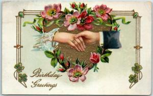 Vintage HAPPY BIRTHDAY Postcard Woman's Hand w/ Engagement Ring - c1910s