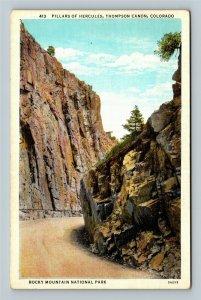 Rocky Mountain National Park CO, Pillars Of Hercules, Linen Colorado Postcard