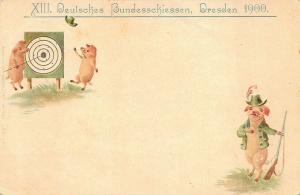 Deulsches Bundesschiessen Dresden 1900 Target Rifles Pigs Postcard