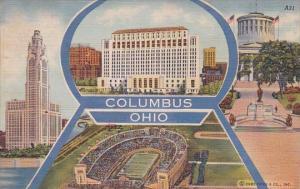 Ohio Columbus Multi View With Stadium 1950 Curteich