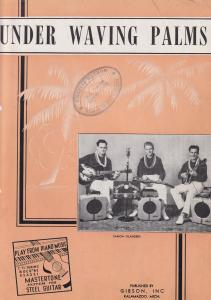 Under Waving Palms Learn Gibson Guitar Old Sheet Music