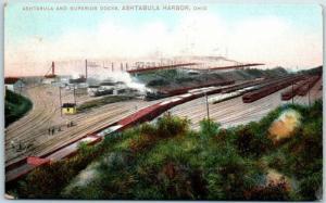 Ashtabula Harbor, Ohio Postcard ASHTABULA & SUPERIOR DOCKS Railroad Tracks 190