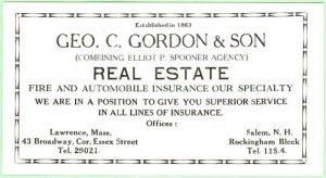 Salem, NH, Geo. C. Gordon & Son Real Estate Fire & Auto Ins advertising  blotter
