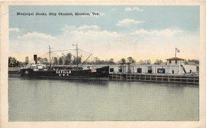 G22/ Houston Texas Postcard c15 Municipal Dock Ship Channel Satilla Boat