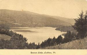 Ludlow Vermont~Hillside View Rescue Lake~1906 B&W Postcard