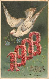 BR74090 1908 bonne  annee new year france bird with flower embossed