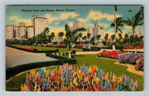Miami FL-Florida, Bayfront Park Walkways, Hotels, Flowers, Linen c1948 Postcard
