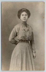 RPPC Josephine~Long Necklace~Wire Rim Schoolmarm Glasses~Love To Homy Boy*~1910