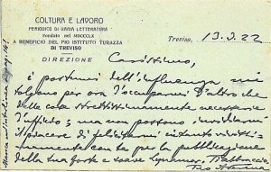 09584 - CARTOLINA d'Epoca - TREVISO Citta': PUBBLICITARIA 1922