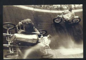 REAL PHOTO CIRCUS CARNIVAL ADVERTISING PHOTO  COPY MOTORCYCLE WALL OF DEATH