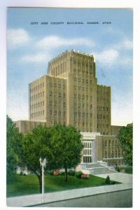 City and County Building, Ogden, Utah unused linen Kropp PPC