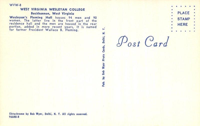 Buckhannon~West Virginia Wesleyan College~Fleming Hall dorm~Students~1960s PC