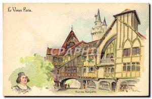 Old Postcard Fantasy Illustrator Old Paris Street ramparts