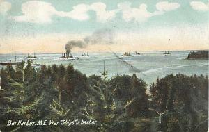 War Ships in Harbor at Bar Harbor Maine ME 1908 Divided Back