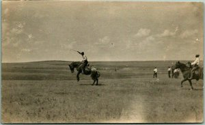 Cowboy / Western RPPC Real Photo Postcard Open Range RODEO SCENE c1920s Unused