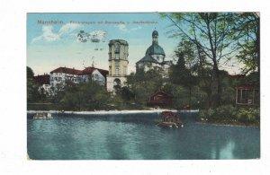 Germany  Mannheim  Friedrichspark mit Strenwarte u. Jesuitenkirche