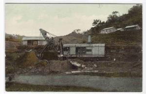 Steam Shovel Loading Dirt Train Canal Zone Panama 1910c postcard