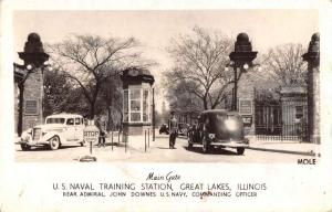 Great Lakes Illinois Naval Training Station Gate Real Photo Antique PC J40775