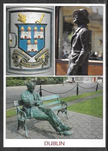 Ireland, Dublin, City Crest & Sculptures, multiview, unused