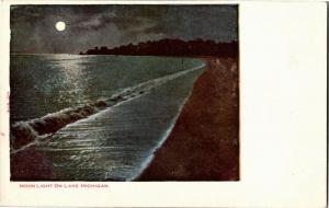 Moonlight on Lake Michigan UDB Vintage Postcard O09