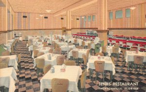 Jenks Restaurant, Jacksonville, Florida, Early Postcard, Unused
