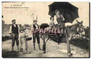 Old Postcard Donkey Mule Ile de Re Family Rhetaise starting Champs