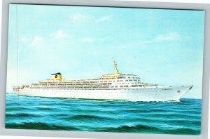 Home Lines Steam Ship Oceanic Chrome Postcard