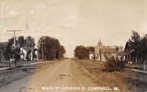 Campbell Minnesota~Main Street East~Homes~Church Steeple~Dirt Road~1909 RPPC