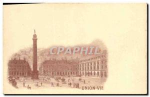 Old Postcard Life Insurance Paris Union Place Vendome