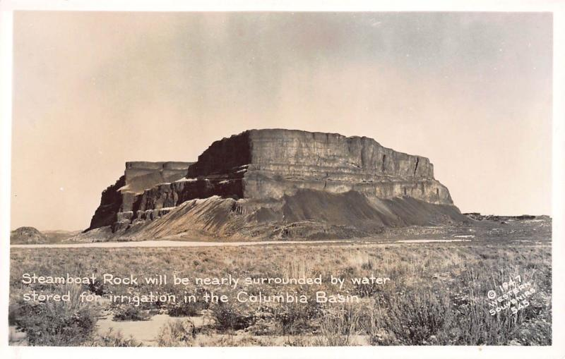 WASHINGTON STEAMBOAT ROCK AND COLUMBIA BASIN-1947  RPPC REAL PHOTO POSTCARD