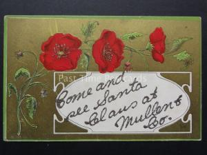 CHRISTMAS Poppies Postcard Glitered on Gold c1908 SEE SANTA CLAWS AT MULLEN & Co