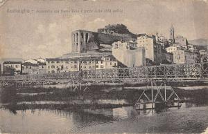 Ventimiglia Liguria Italy birds eye view Roia River and bridge antique pc Z23318