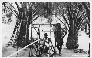 Ghana Gold Coast Weaver at Work RP Postcard