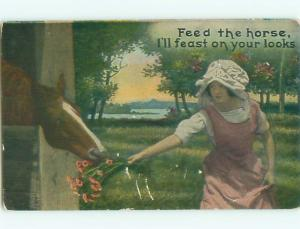 Pre-Linen Risque FEAST ON THE LOOKS OF PRETTY GIRL FEEDING HORSE AB8293