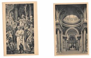 Paris France  Le Pantheon La Nef The Nave Bapteme De Clovis 2 Vntg Postcards