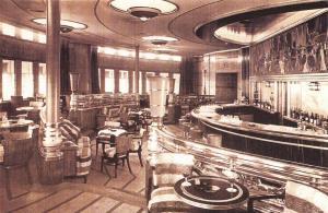 Nostalgia Postcard Interior Queen Mary Cunard White Star Liner 1936 Repro NS1