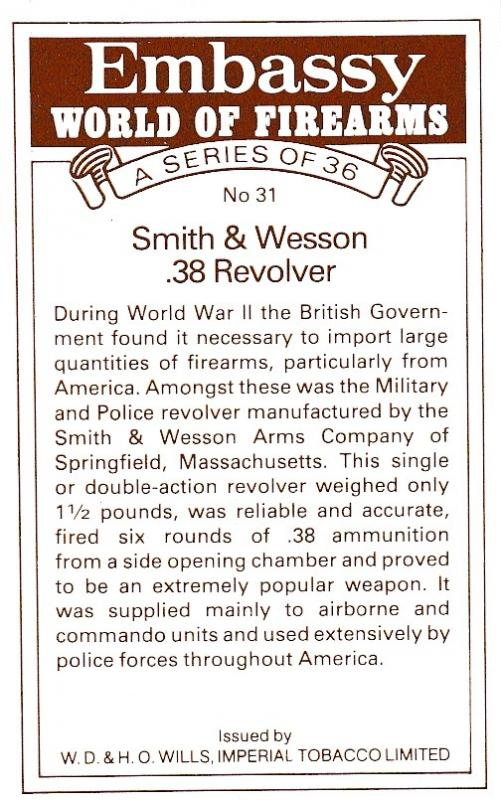Cigarette Cards Will's – Embassy World of Firearms No 31 Smith & Wesson