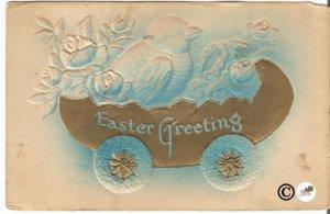 Vintage Novelty Postcard Heavily Embossed w/ Gold Gild Chicks in Easter Egg