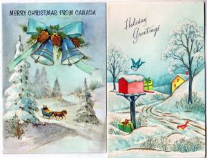 2 - Christmas Cards, Glass Beaded