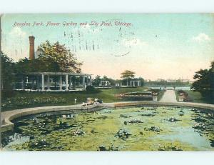 Divided-Back LILY POND & PARK SCENE Chicago Illinois IL r8176